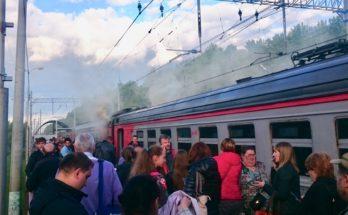 Возле Можайска загорелась электричка из Москвы